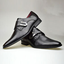Mens New Black Leather Smart Formal Velcro Buckle Shoes UK SIZE 6 7 8 9 10 11