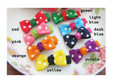 Pair Of Girls Polka Dot Bow Hair Clips Slides Grips Hair Accessory 8 Colours  UK