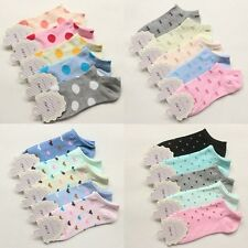 Lot of 5/10 pairs women's spring and summer Dot & grid cotton ship socks 8 style