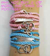 ONE DIRECTION SILVER & BRONZE INFINITY & LOVE BRAIDED LEATHER WRISTBAND BRACELET