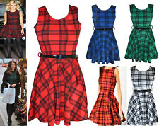 Womens tartan print sexy skater dress ladies check party belted dress  size 8-26