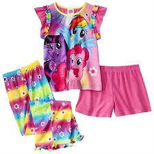 MY LITTLE PONY 3 Pc Pajamas Sz 4T Shirt Pants Shorts PJS Pinkie Rainbow ~ NWT