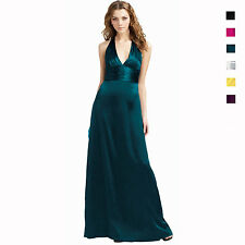 Halter Neck Silk Satin Formal Evening Gown Bridesmaid Dress ed6056