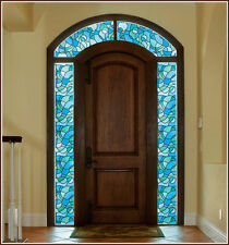 Abstract Blue Green Stained Glass Window Film Cling Adhesive-Free Modern Privacy