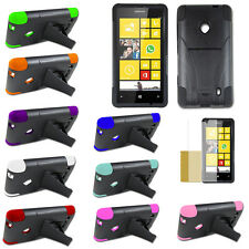 Hybrid Dual Armor Hard Stand Silicone Cover Case For Nokia Lumia 520 521 Color