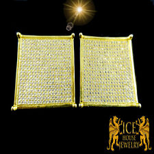 New Men Multivariation Flat Screen White CZ on Yellow Gold Platted Stud Earring