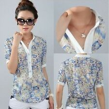 Ladies blouses chiffon shirt body tops floral print short sleeve stand collar