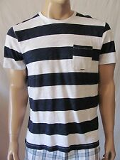 New LUCKY BRAND Mens White Blue Casual S/S Knit Striped Crew Tee Shirt Top $39