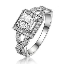 1ct Princess Cut AAA Cubic Zirconia Engagement Wedding Ring 925 Sterling Silver