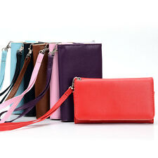 A Universal Bicast Leather Wrist-Let Clutch Case for Smart Mobile Phones