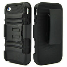 HEAVY DUTY RUGGED CASE & BELT CLIP KICKSTAND FOR APPLE IPHONE 4 4S