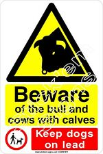 Beware of the bull and cows with calves stickers signs COUN1011