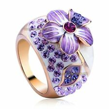 18K Rose Gold GP Crystal Amethyst Jewelry Enamel Flower Ring R015