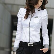 Women's Button Down Shirt Casual Long Puff Sleeve Office Lady Tops Blouse