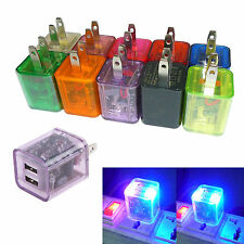 US Plug LED Flashing 2.1A+1.0A Dual USB 2Port AC Wall Adapter Charger For Phone
