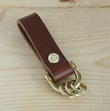 Leather Key Fob Belt Loop Holder Brass Shackle_Knife Sheath Dangler_FREE SHIP