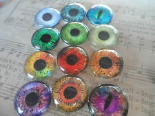 4 x 25mm Glass Eye Cameo Cabochons for Jewellery & Model Making, 12 designs