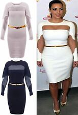 Ladies Women Kim Kardashian Long Sleeve Mesh Insert Midi Bodycon Dress Top KK