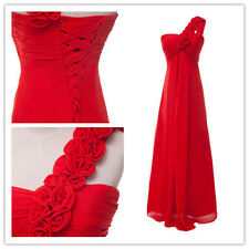 Lucky Red Floral One Shoulder Bridesmaid Cocktail Evening Prom Party Long Dress