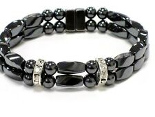 Women's MAGNETIC Hematite RHINESTONE Bracelet Anklet Beautiful 2 row 3 STYLES