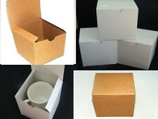 100 4x4x4 Kraft and White gloss Fold and Tuck Gift Boxes, Cute Party Favor Boxes