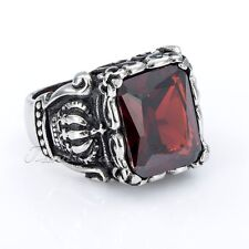 Mens Boys Ring Punk Crown Red CZ Cubic Zirconia Silver Tone 316L Stainless Steel