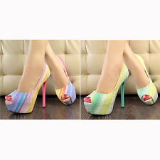 vic Womens Peep Toe Stiletto High Heel Platform Pumps Party Club Rainbow Shoes