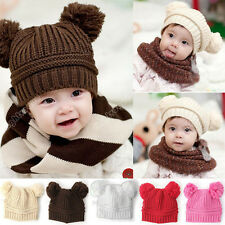 2014 New Warm Sweet Unisex Baby Kid Dual Ball Toddler Knit Beanie Cap Hat 0026
