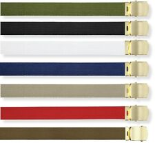 """Web Belt Cotton 1.25"""" Adjustable Military Style 44 inch Adjustable All Colors"""