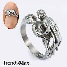 Cool Mens Boys Wrap Ring Have Sex Design Silver Tone 316L Stainless Steel Ring