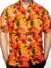 MENS ORANGE PINK SUNSET PALMTREE HAWAIIAN CARIBBEAN SHIRT S M  L XL XXL 3XL