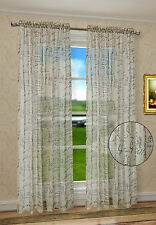 """French Script Modern Style Window Curtains Panels Taupe Sheers 50"""" X 45"""" 63"""" 84"""""""