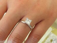 NEW Princess Cut Solitaire Engagement Wedding 1 Carat Ring 14K Real White Gold