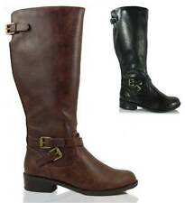 Womens Riding Boot Tall Knee High Faux Leather Buckle Soda Shoes Bio Black Brown