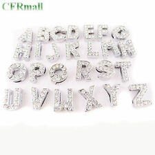 5Pcs A-Z Slider Rhinestone Alphabet Letter Beads Fit 8mm/10mm Belt Bracelets