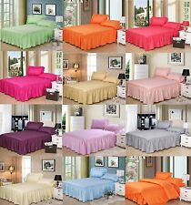 3 PIECE Bed Skirts(Fitted Sheets) 2 Pillowcases Striped  11 Colors 100% COTTON