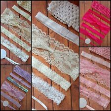 BABY HEADBAND HEADBANDS x12 WHOLESALE BULK FOE ELASTIC LACE WHITE IVORY PINK DIY