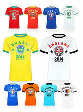 Womens Ladies New World Cup 2014 Printed Top Retro Football Soccer T-Shirt Sport
