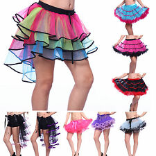 Rainbow Neon RaRa Rave Party Organza Dance Ruffle Tiered Tutu Skirt Clubwear