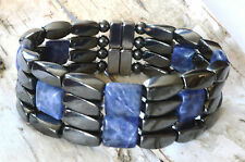 Mens Power Magnetic Hematite SODALITE Bracelet Anklet STRONG 4 row THERAPY! 7/8""