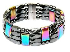 "Men's Women's Magnetic Bracelet Anklet RAINBOW STRONG 4row THERAPY GOLF 7/8""WIDE"