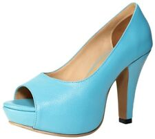 Women's Petite Shoes Heels Leather Open Toe Turquoise Pumps Small Size 2 3 4 5