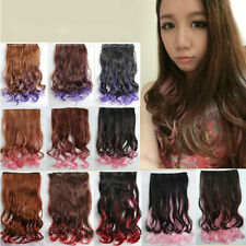 Women Long Curly Hair Full Head Clip in Synthetic Hair Extensions Multi Colors