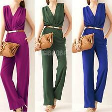 #gib New Womens Ladies OL Deep V Neck Sleeveless Cocktail Party Jumpsuit Rompers