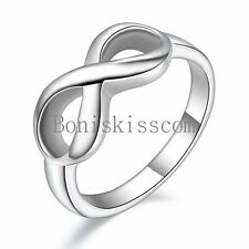 Polished Stainless Steel Infinity Love Ring Women's Wedding Promise Band Sz 5-12