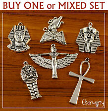 Large Egyptian charms ~ ankh pharaoh goddess isis sarcophagus for pendant silver