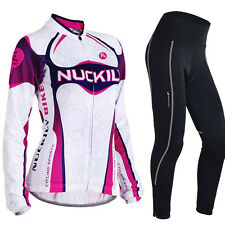 Women's Long Sleeve Cycling Polyester +Coolmax Jersey and Pant Set Wear Clothing