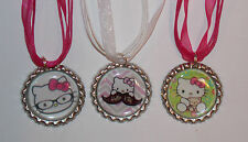 Hello Kitty Bottle Cap Ribbon Cord Necklace - Party Favors, different colors