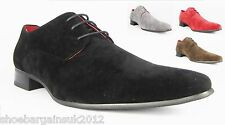 Mens Black Red Brown Grey Leather Lined Faux Suede Formal Wedding Shoes UK 8- 12