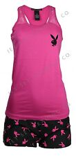 WOMENS PLAYBOY 2PC LOUNGE SHORTS & LACE STRAP RACER BACK TANK TOP NEW SIZES S-L